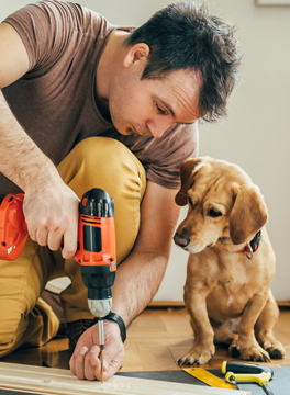 Man with drill and dog